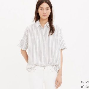 Madewell Black and White Striped Courier Shirt M